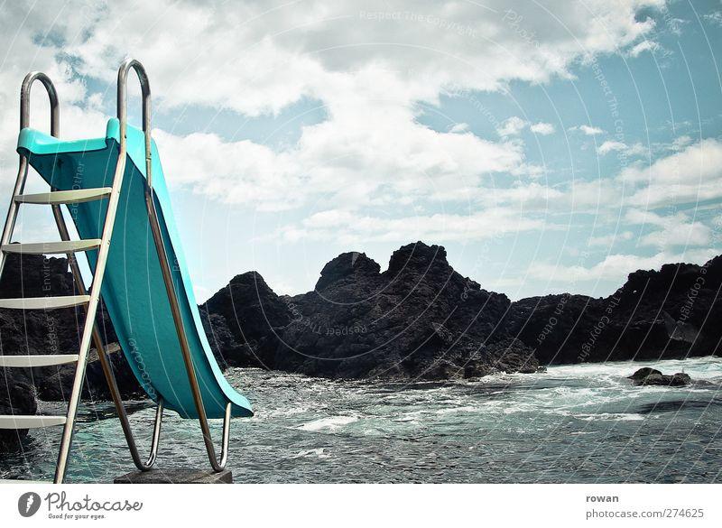 rutschen! Erholung Schwimmen & Baden Freizeit & Hobby Spielen Ferien & Urlaub & Reisen Sommer Sommerurlaub Strand Natur Wolken Wetter Felsen Wellen Küste