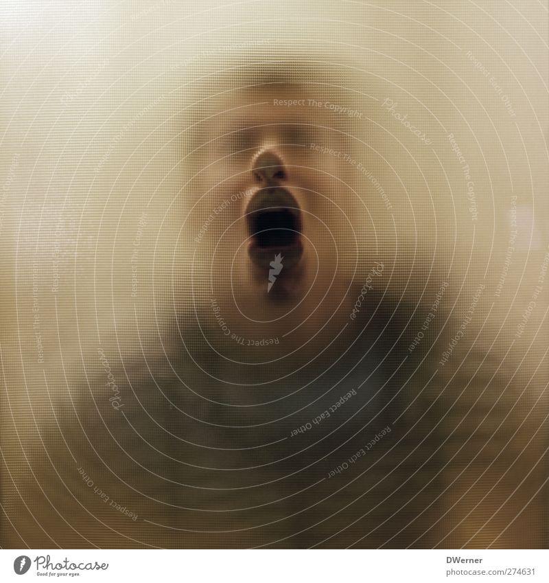 :-() Mensch Mann Jugendliche Erwachsene Gesicht gelb Junger Mann 18-30 Jahre Angst maskulin Glas Mund verrückt Nase bedrohlich einzigartig
