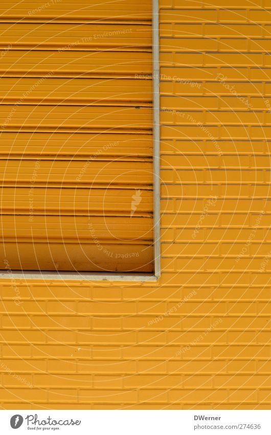gelb Haus Renovieren Fabrik Industrieanlage Gebäude Architektur Mauer Wand Fassade Fenster Stein Häusliches Leben eckig Farbe Symmetrie Backstein Jalousie