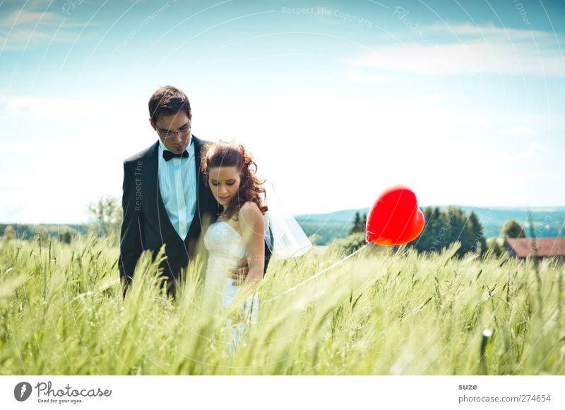 Today Is A Good Day Mensch Frau Himmel Mann Natur Jugendliche Sommer rot Erwachsene Landschaft Liebe feminin Glück träumen Zusammensein Feld