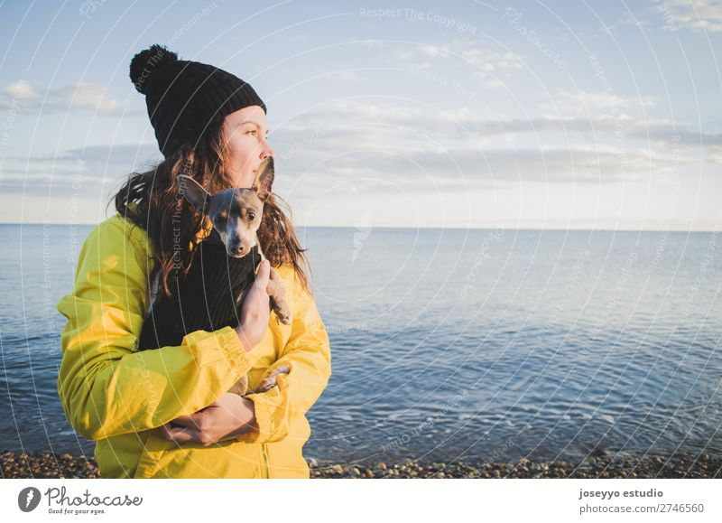 Frau mit ihrem kleinen Hund am Strand im Winter Lifestyle Erholung Ausflug Freiheit Sonne 30-45 Jahre Erwachsene Natur Tier Horizont Küste Jacke Mantel Hut