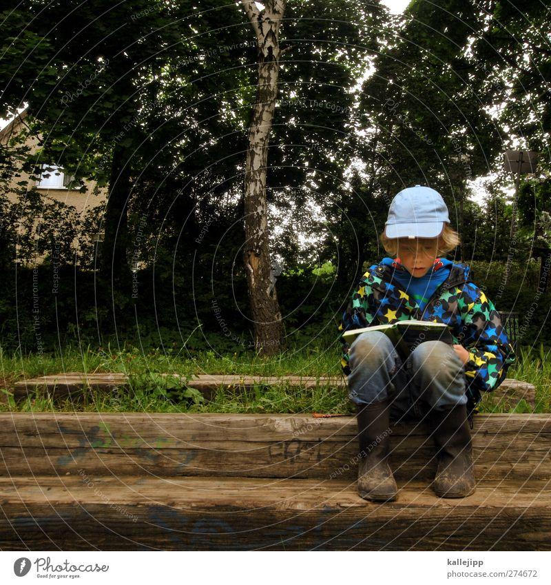 bücherwurm Mensch Kind Natur Baum Sommer Pflanze Wald Umwelt Landschaft Leben Junge Schule Kindheit sitzen Freizeit & Hobby Buch