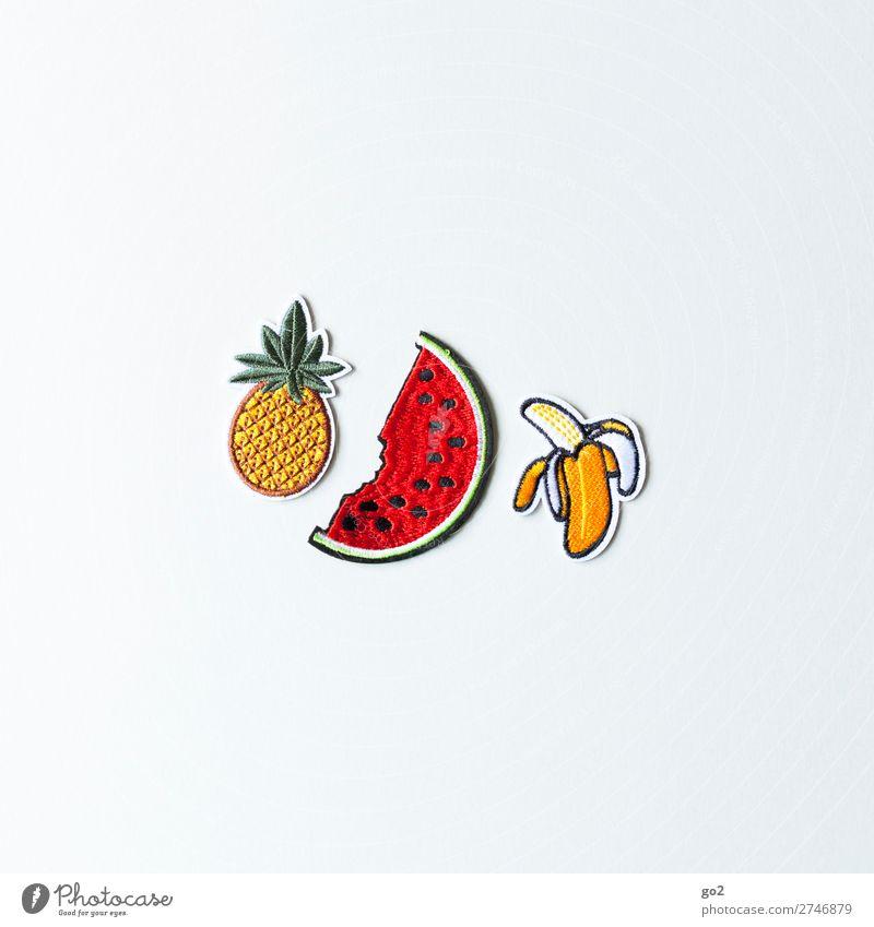 Ananas Melone Banane Lebensmittel Frucht Wassermelone Ernährung Bioprodukte Vegetarische Ernährung Diät Fasten Gesunde Ernährung Accessoire Stoff Zeichen