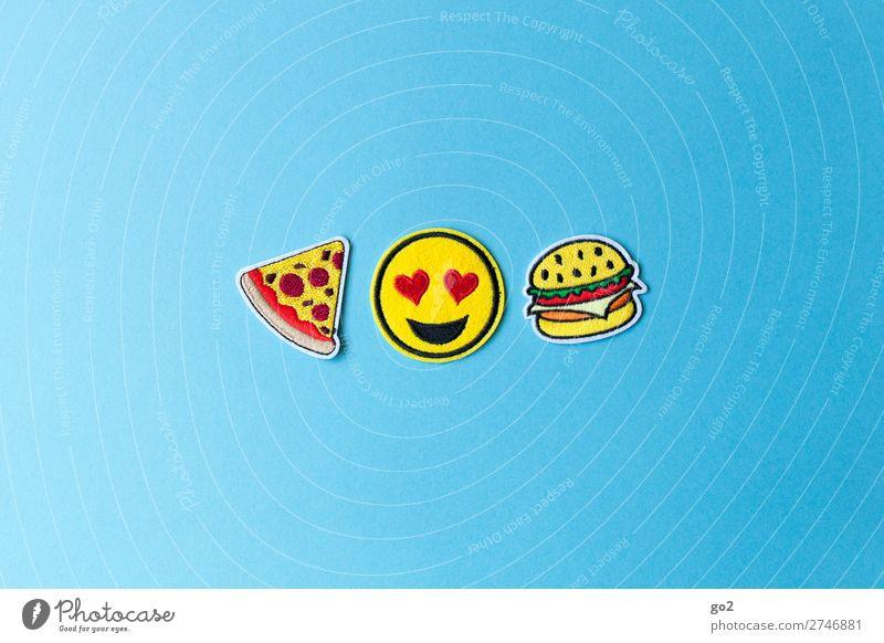 Pizzaburger Lebensmittel Fleisch Käse Hamburger Ernährung Essen Fastfood Lifestyle Restaurant Dekoration & Verzierung Stoff Zeichen Herz Smiley Fröhlichkeit