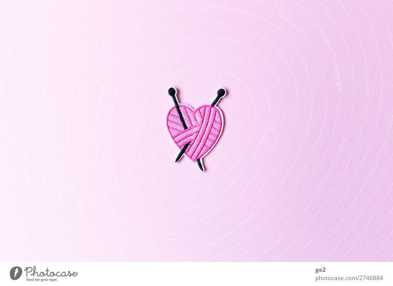 Strickliebe Freizeit & Hobby Handarbeit stricken Stoff Stricknadel Zeichen Herz ästhetisch außergewöhnlich rosa Gefühle Freude Leidenschaft Design einzigartig