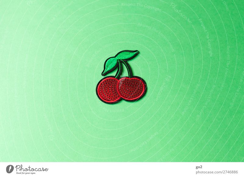 Kirschen Lebensmittel Frucht Ernährung Accessoire Dekoration & Verzierung Stoff Zeichen ästhetisch frisch Gesundheit lecker saftig grün rot Farbfoto