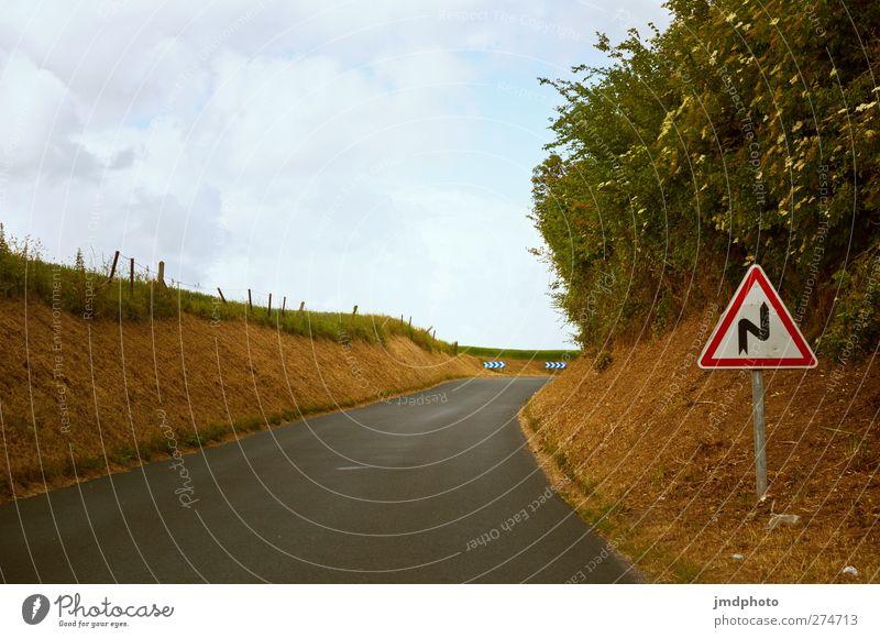Achtung S Kurve Umwelt Himmel Wolken Sommer Schönes Wetter Feld Verkehr Verkehrswege Straßenverkehr Autofahren Verkehrszeichen Verkehrsschild
