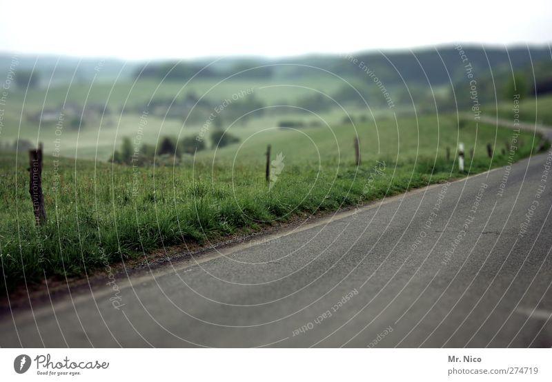 aufm land Natur Einsamkeit Umwelt Ferne Landschaft Wiese Straße Wege & Pfade Horizont Feld Ausflug trist Idylle Hügel Aussicht Asphalt