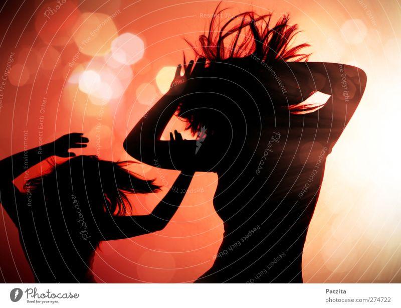dancing silhouettes Frau Jugendliche schwarz Bewegung Party Musik Feste & Feiern Körper Tanzen Disco Club Diskjockey Tänzer Klang Bühnenbeleuchtung Nachtleben