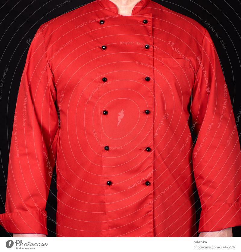 Fragment einer roten Uniform mit schwarzen Knöpfen Stil Küche Restaurant Arbeit & Erwerbstätigkeit Beruf Koch Mensch Mann Erwachsene Mode Bekleidung Hemd Anzug