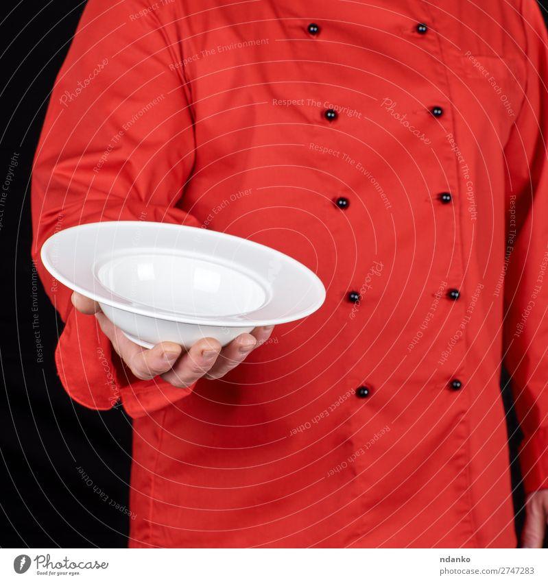 Mensch Mann weiß rot Hand Speise dunkel schwarz Erwachsene Körper Küche Sauberkeit Beruf zeigen Restaurant Teller