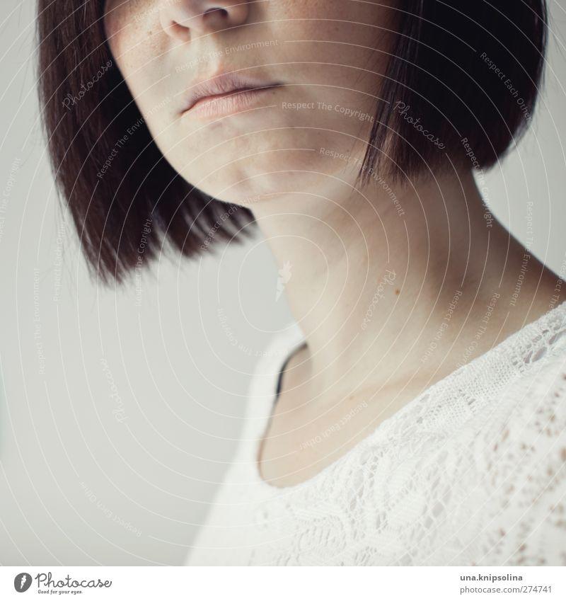 dentelle elegant Stil schön Haut Gesicht feminin Junge Frau Jugendliche Erwachsene Nase Mund Hals 1 Mensch 18-30 Jahre Kleid Spitze brünett kurzhaarig