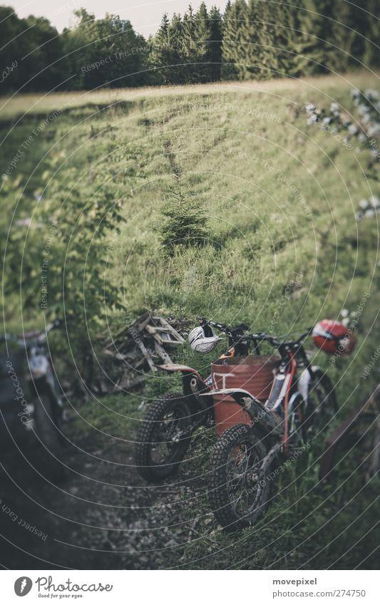 Wo sind die Biker? Sport Motorsport Motorradtreffen Natur Landschaft Wald Berge u. Gebirge Helm Motorradhelm Erholung Pause Menschenleer Motocrossmotorrad Wiese
