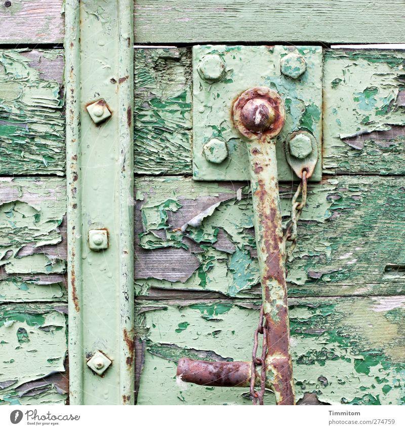 Altersentsprechender Zustand. grün Holz grau Metall Arbeit & Erwerbstätigkeit Armut ästhetisch Wandel & Veränderung Landwirtschaft Gelassenheit Verfall Rost Kette verwittert Forstwirtschaft Anhänger