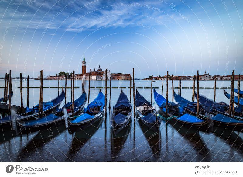 wenn die Gondeln Schlafanzug tragen Ferien & Urlaub & Reisen Ausflug Sightseeing Städtereise Himmel Horizont Sommer Meer Insel Venedig Italien Stadt Kirche Turm