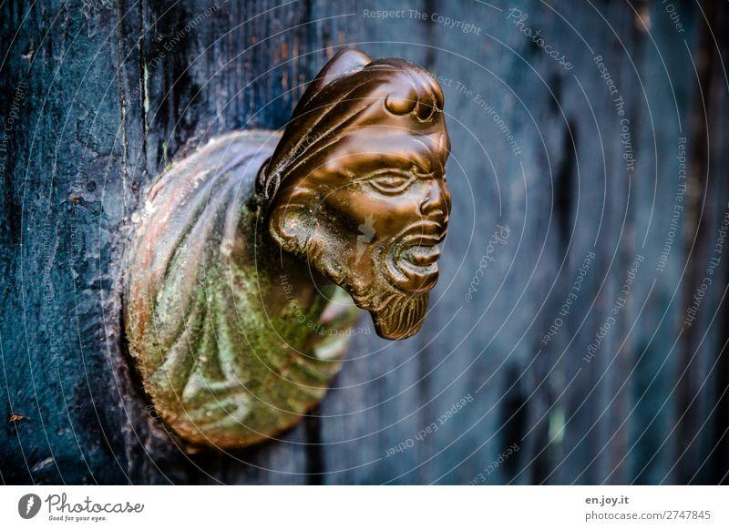 Abeschreckung alt blau Gesicht Holz Kunst außergewöhnlich Kopf Metall gold Gold bedrohlich gruselig Skulptur böse skurril bizarr
