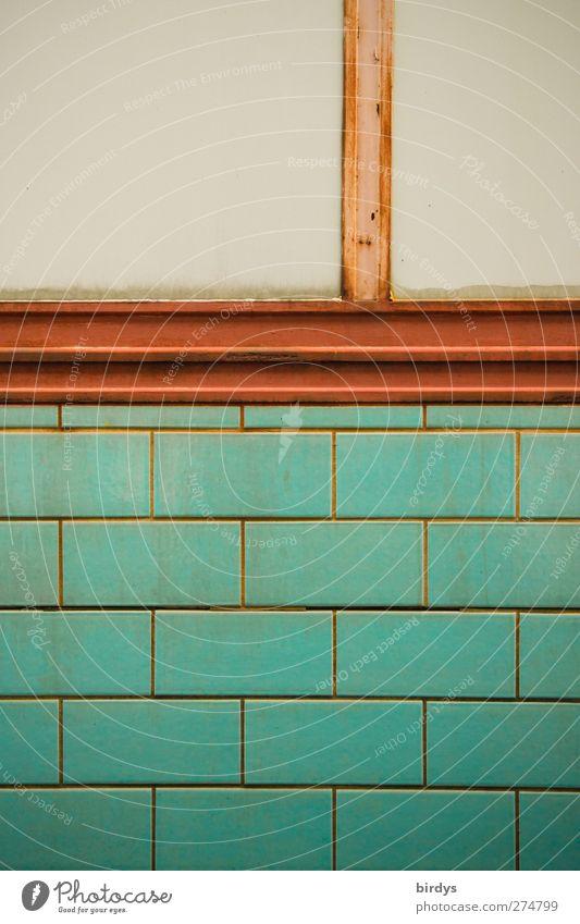 Standard Mauer Wand einfach Stadt blau rot Symmetrie Fliesen u. Kacheln Teilung Farbfoto Außenaufnahme Menschenleer Textfreiraum links Textfreiraum oben