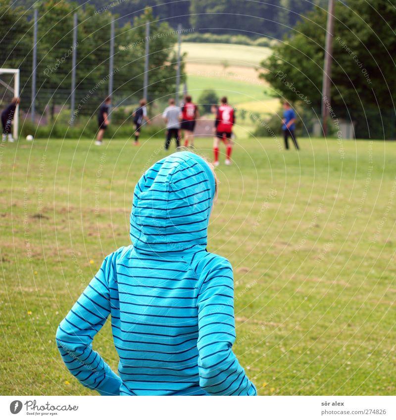 zuschauen Sport Ballsport Sportmannschaft Fan Sportveranstaltung Fußball Fußballplatz Mensch feminin Junge Junge Frau Jugendliche Leben Körper Kopf Rücken Arme