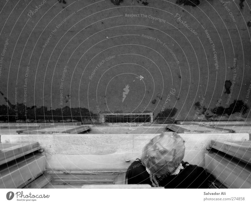 Früher war mehr Lametta Mensch Frau alt Stadt Einsamkeit Fenster Wand Senior oben Mauer Europa trist beobachten Neugier Italien 60 und älter