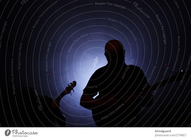 Two Silhouettes Mensch Mann Erwachsene 2 Künstler Musik Konzert Bühne Band Musiker Gitarre Spielen blau schwarz weiß Veranstaltung Feste & Feiern Kontrabass