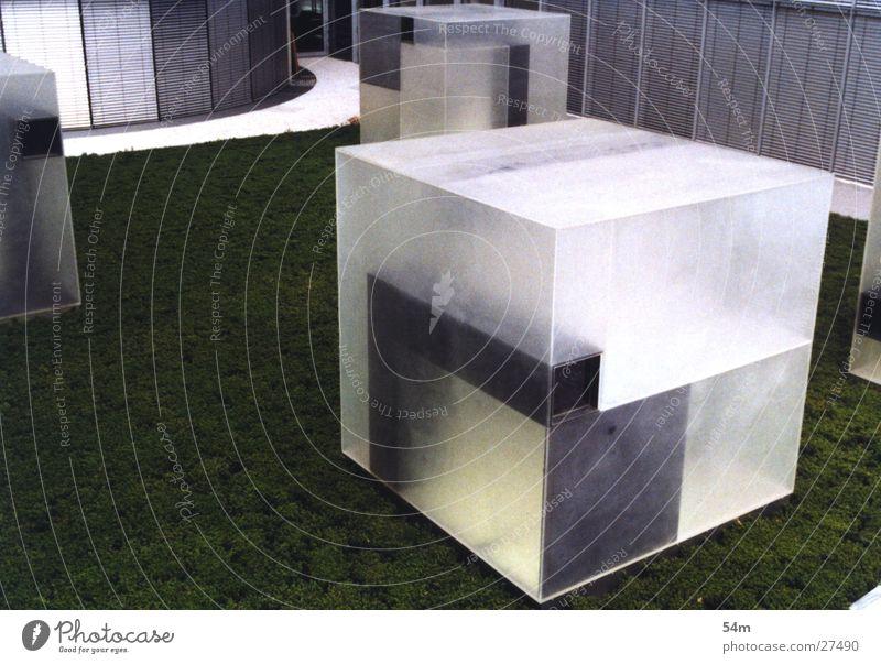 Transparenter Block grün weiß Gebäude Architektur durchsichtig Metall