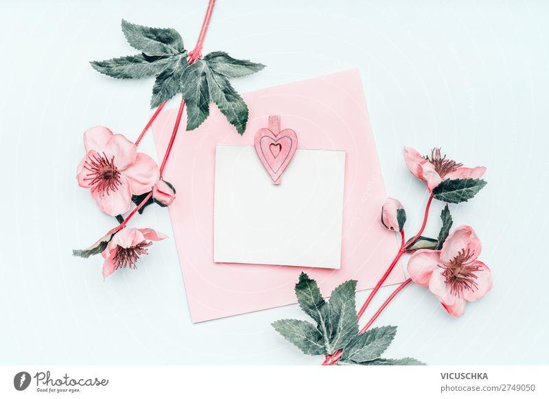 Grußkarte mit Blumen Stil Design Dekoration & Verzierung Party Veranstaltung Feste & Feiern Muttertag Hochzeit Geburtstag Blumenstrauß Herz Liebe rosa weiß