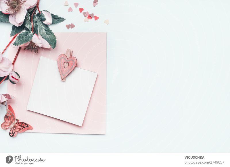 Leere Grußkarte mit pastell rosa Herz und Blumen Freude Hintergrundbild Feste & Feiern Stil Design Dekoration & Verzierung Geburtstag Geschenk leer Papier