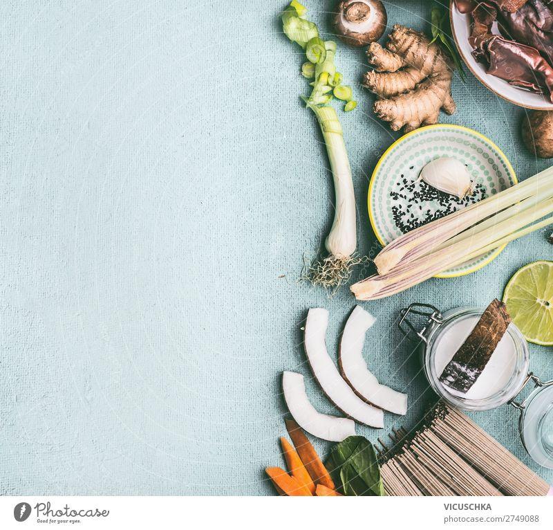 Zutaten für Asiatische Gerichte Lebensmittel Gemüse Kräuter & Gewürze Ernährung Asiatische Küche Geschirr Stil Design Tisch Restaurant Chinese Thai