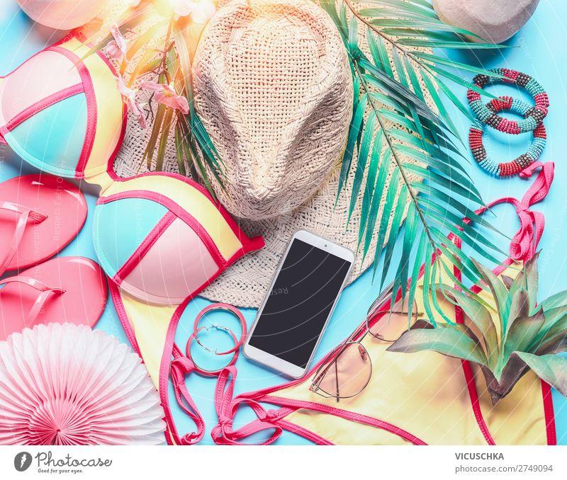 Weibliche Sachen für Badeurlaub Ferien & Urlaub & Reisen Sommer Meer Strand feminin Stil Tourismus Design Sommerurlaub trendy Hut Sonnenbrille PDA Bikini