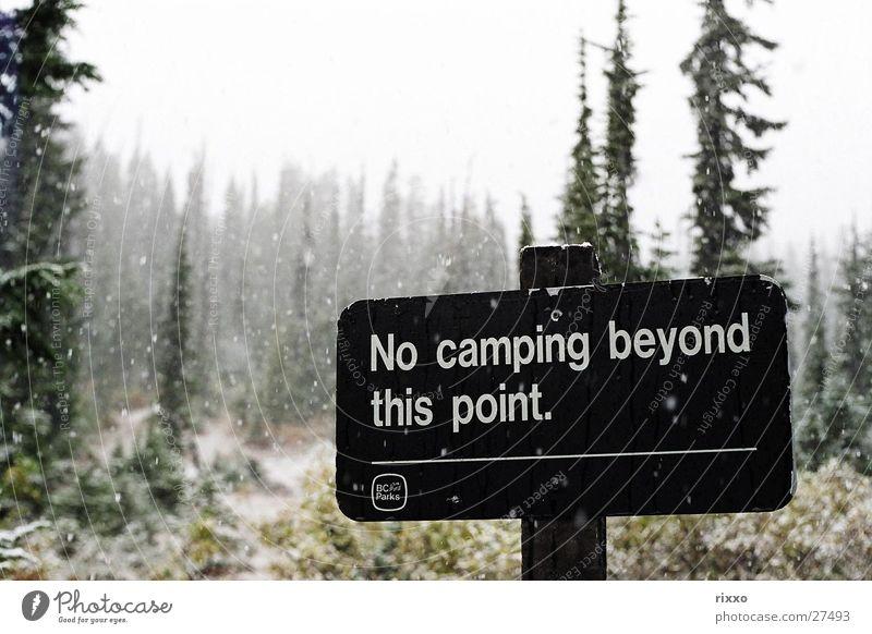 """""""Last Chance"""" Winter Wald kalt Schnee Schneefall Schilder & Markierungen Grenze Hinweisschild Camping Kanada Begrenzung British Columbia"""