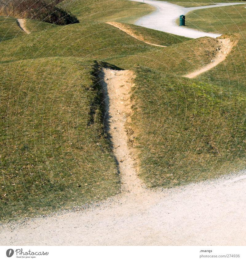 Wege & Pfade Natur Landschaft Schönes Wetter Gras Wiese Hügel Zeichen außergewöhnlich einzigartig Beginn Zukunft Orientierung Farbfoto Außenaufnahme