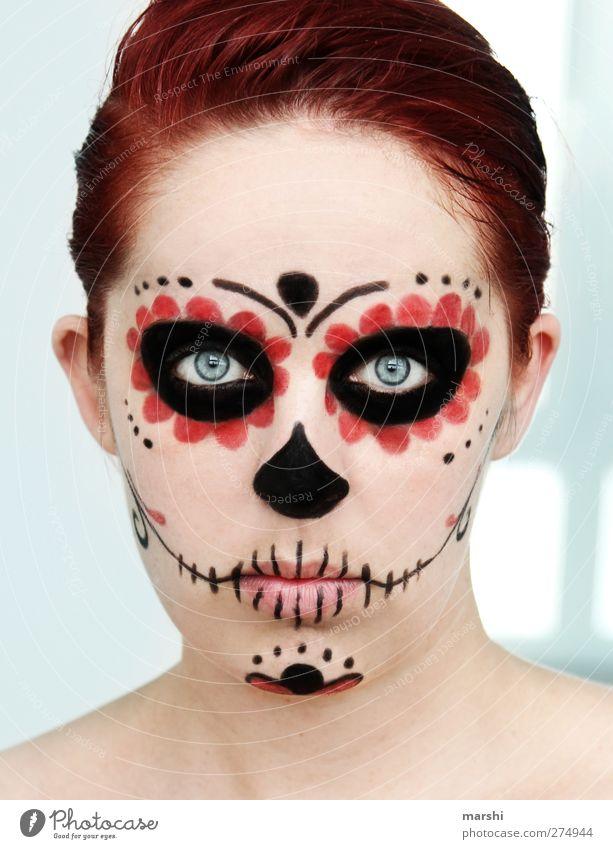 mexican skull Mensch feminin Junge Frau Jugendliche Erwachsene Haut Kopf 1 Skulptur Kultur rothaarig schwarz Gefühle Stimmung Freude Traurigkeit Trauer Tod