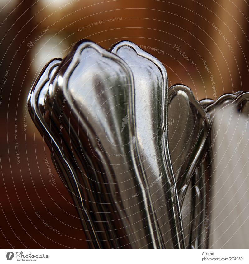 stielvoll Besteck Messer Gabel Löffel Metall glänzend Sauberkeit braun grau Ordnung Bieder einfallslos Langeweile Gedeckte Farben Detailaufnahme Menschenleer