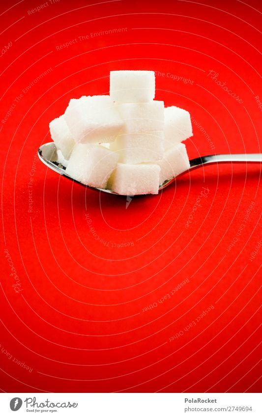 #S# sugar Lebensmittel Ernährung ästhetisch Zucker süß rot Würfelzucker Löffel Bewusstsein Respekt bedrohlich Diät verzichten Süßwaren weiß Farbfoto Nahaufnahme