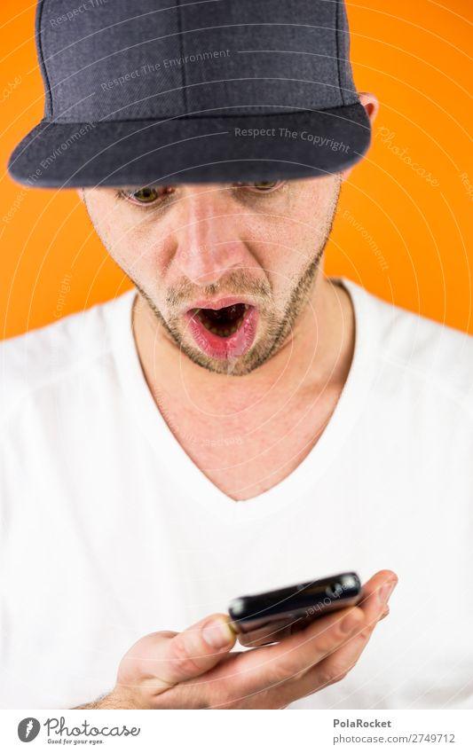 #S# OMG Handy Mensch maskulin Junger Mann Jugendliche ästhetisch Mütze PDA orange T-Shirt erstaunt Überraschung überrumpeln oh! Mund Gesichtsausdruck Bart