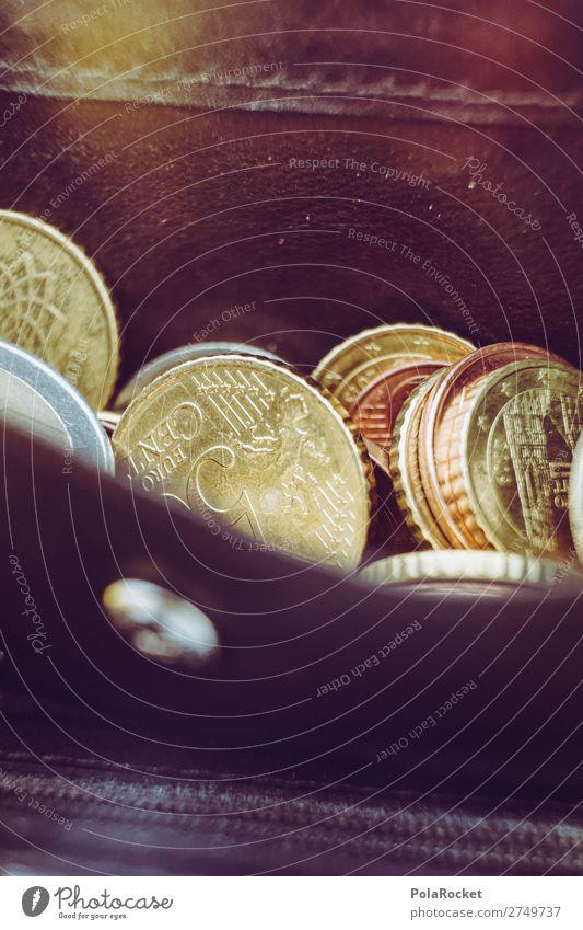 #S# Brieftasche Geld bescheiden Euro Finanzkrise Geldmünzen Portemonnaie sparen Leder Armut wenige Insolvenz Farbfoto Nahaufnahme Experiment Menschenleer