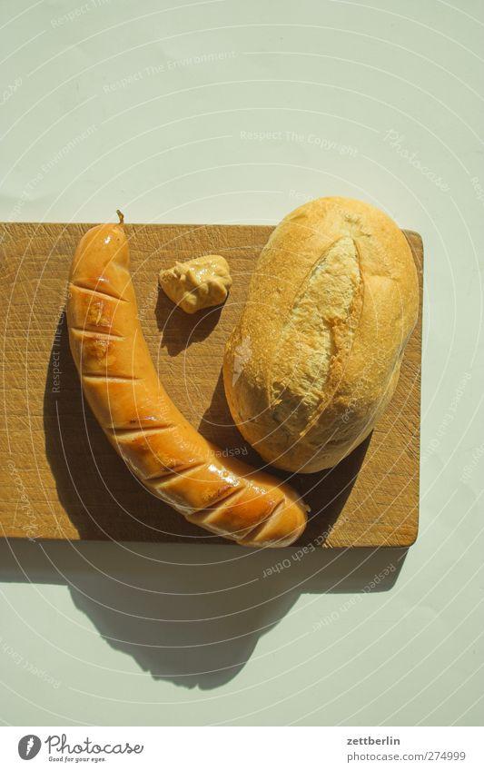Wurscht Lebensmittel Wurstwaren Brötchen Ernährung Mittagessen Büffet Brunch Picknick Fastfood Fingerfood füttern Lebensfreude Dienstleistungsgewerbe bockwurst