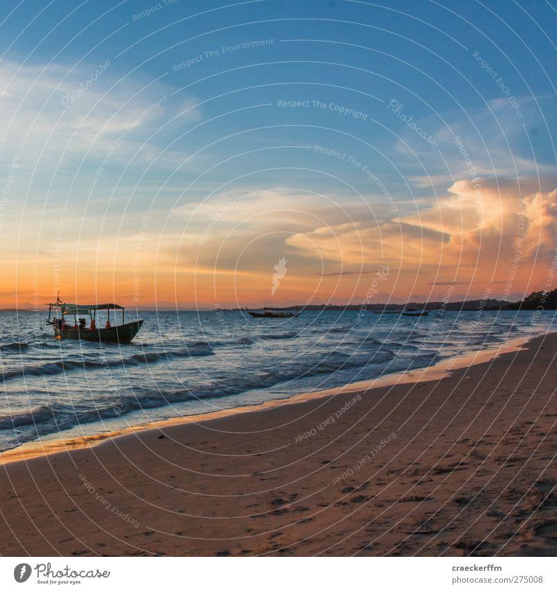 Relax Wasser Ferien & Urlaub & Reisen Sommer Sonne Meer Strand Wolken ruhig Ferne Landschaft Freiheit träumen Horizont Stimmung Tourismus authentisch