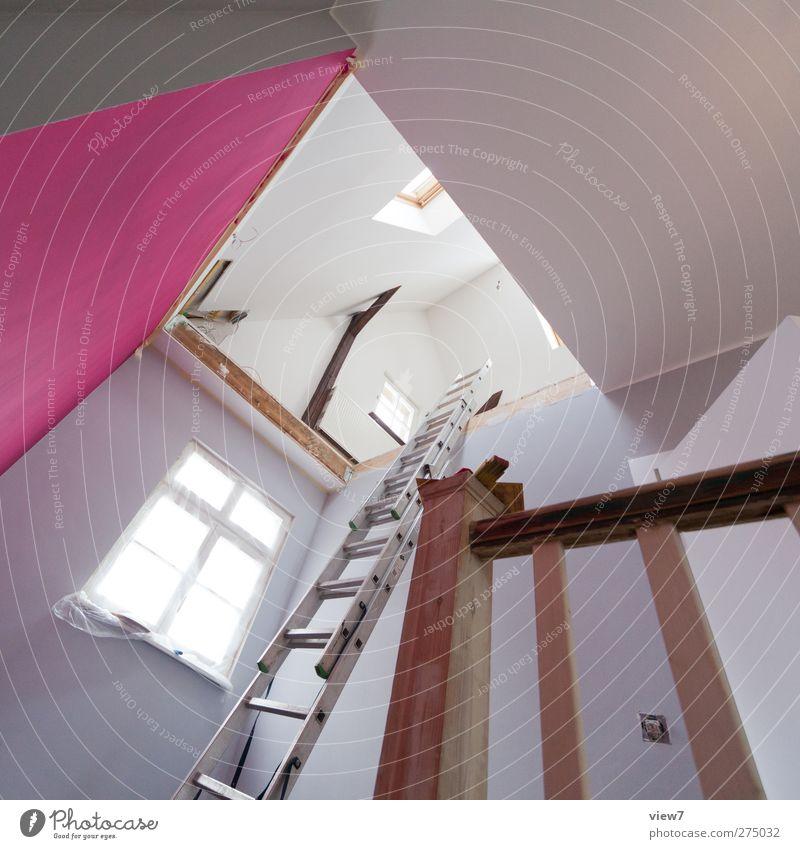 Innenausbau oben Innenarchitektur Raum Wohnung rosa Treppe Beginn modern frisch authentisch ästhetisch Dekoration & Verzierung Häusliches Leben einfach Idee