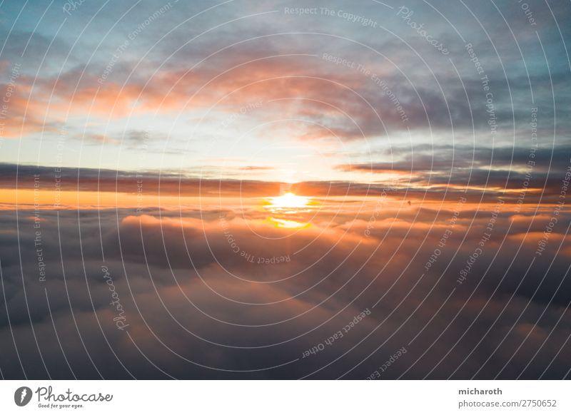 Sonnenuntergang über den Wolken elegant Ferien & Urlaub & Reisen Tourismus Abenteuer Ferne Freiheit Sommer Sommerurlaub Umwelt Himmel Sonnenaufgang Klima