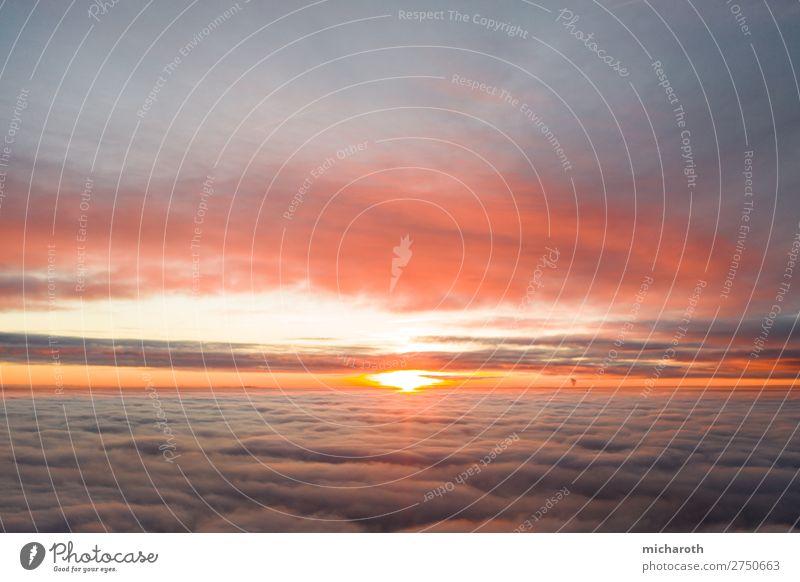 Sunset above the clouds Himmel schön Sonne Wolken Wärme Umwelt fliegen Zufriedenheit Nebel Wetter Aussicht Kraft Luftverkehr Erfolg Abenteuer Wind