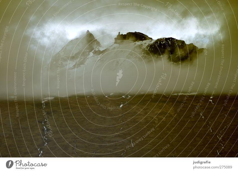 Island Umwelt Natur Landschaft Wolken Gewitterwolken Klima Wetter Felsen Berge u. Gebirge Gipfel außergewöhnlich bedrohlich dunkel gruselig natürlich wild