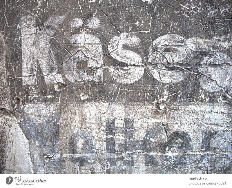 Etikettenschwindel alt Stadt Wand Mauer Stein dreckig Schilder & Markierungen Design Beton ästhetisch Schriftzeichen kaputt trist retro Zeichen historisch