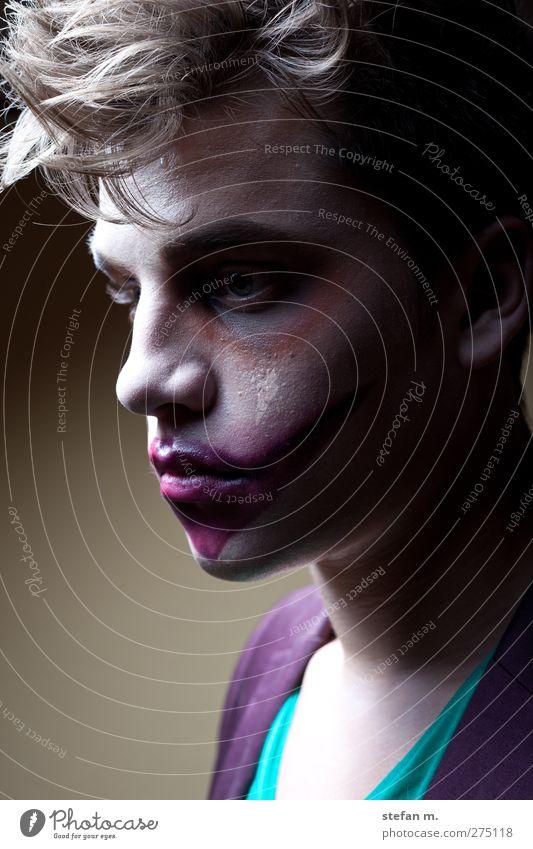 purple lips Schminke Mensch maskulin 1 18-30 Jahre Jugendliche Erwachsene Kunst Theater Schauspieler Subkultur Haare & Frisuren beobachten Traurigkeit verblüht