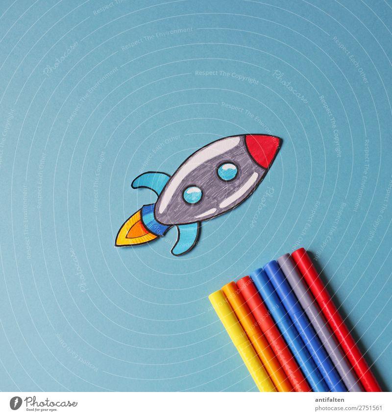 Start in die Woche Freizeit & Hobby Basteln Grafik u. Illustration Zeichnung zeichnen malen Party Veranstaltung Karneval Silvester u. Neujahr Raumfahrt Rakete
