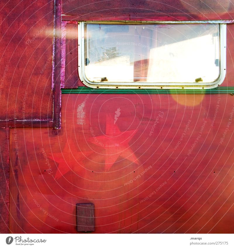Topstar Lifestyle Stil Design Mauer Wand Fenster Wohnwagen Zeichen Stern (Symbol) außergewöhnlich Coolness trendy einzigartig verrückt schön rot Farbe