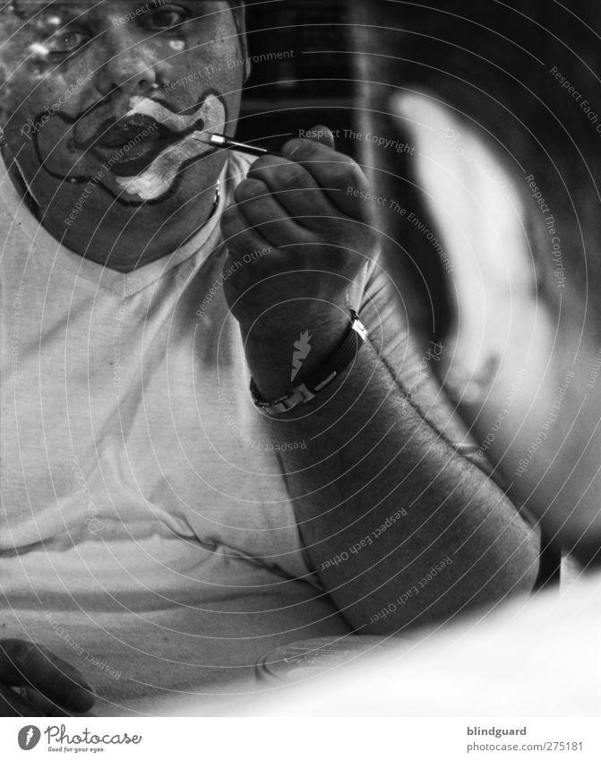 Melancholy Freude Körperpflege Schminke Lippenstift Entertainment Arbeit & Erwerbstätigkeit maskulin Mann Erwachsene Gesicht Auge Mund 1 Mensch 30-45 Jahre