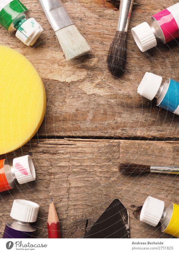 Pinsel und Farben Malerei Kunst Freizeit & Hobby Studium Arbeitsplatz Handwerk Werkzeug Künstler Idee einzigartig Inspiration Kreativität tools wooden view