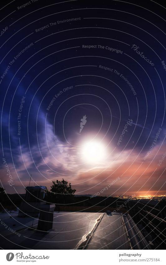 it's like a dream (II) Himmel Natur Sommer Wolken Landschaft Gefühle Beleuchtung Beginn Stern leuchten Dach Schönes Wetter Mond Schornstein Nachthimmel