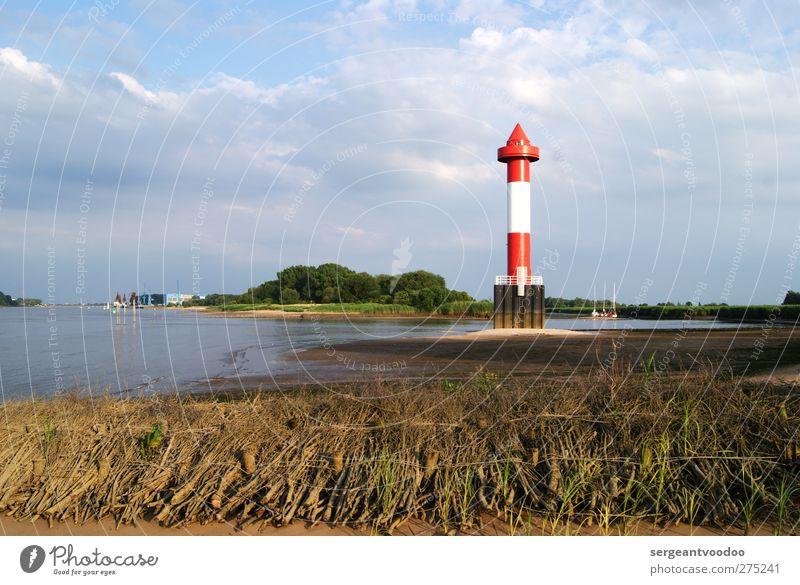 Juliusplate Ausflug Sommer Schifffahrt Natur Landschaft Wolken Horizont Flussufer Strand Weser Leuchtturm Verkehrswege Verkehrszeichen Verkehrsschild leuchten